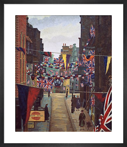 Flask Walk, Hampstead, on Coronation Day, 1937 by Charles Ginner