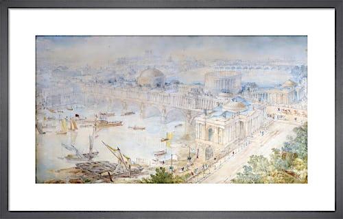 Bird's-eye view of [John Soane's] design for a Triumphal Bridge by Joseph M Gandy