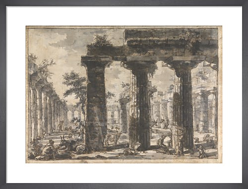 Paestum Italy Interior of the Basilica from the East by Giovanni Battista Piranesi