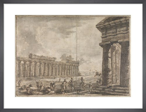Paestum Italy Basilica with Temple of Neptune in the right foreground Exteriors by Giovanni Battista Piranesi