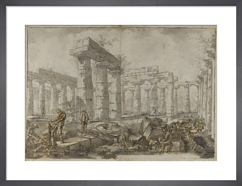 Paestum Italy View of the interior of the Basilica from the West by Giovanni Battista Piranesi