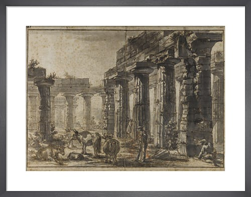 Paestum Italy Interior of the Basilica from the South-West with the Temple of Neptune behind by Giovanni Battista Piranesi