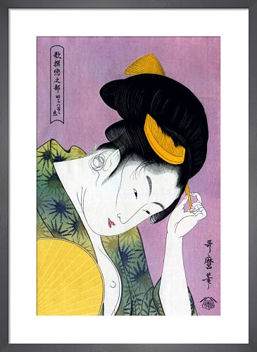 A Beauty Arranging Her Hair by Kitagawa Utamaro