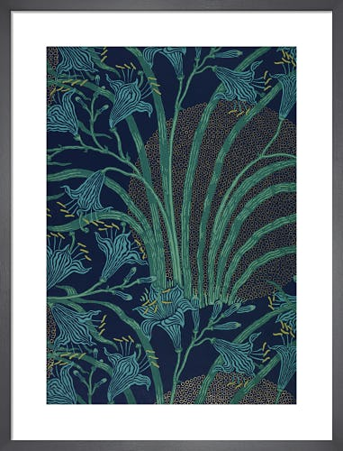 Day Lily wallpaper (Blue), England, 1897 by Walter Crane
