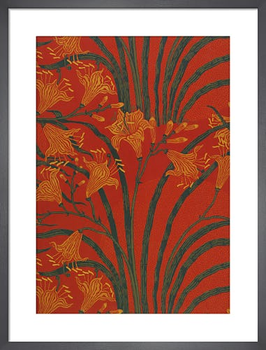 Day Lily wallpaper (Red), England, 1897 by Walter Crane