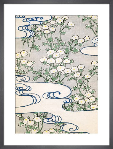 Blooming Vines & Waves, 1882 by Japanese School (19th century)