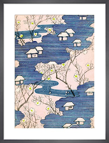 Cottages with Rivers and Cherry Blossom c.1900 by Japanese School (19th century)