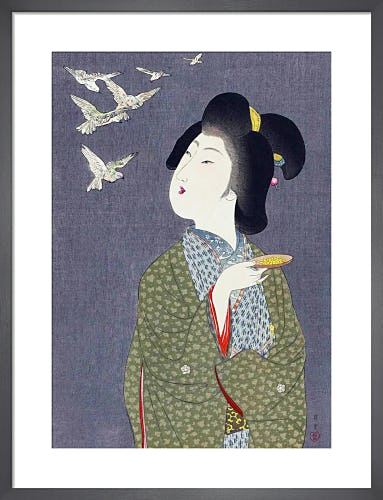 Feeding Birds, 1909 by Yamamoto Shoun