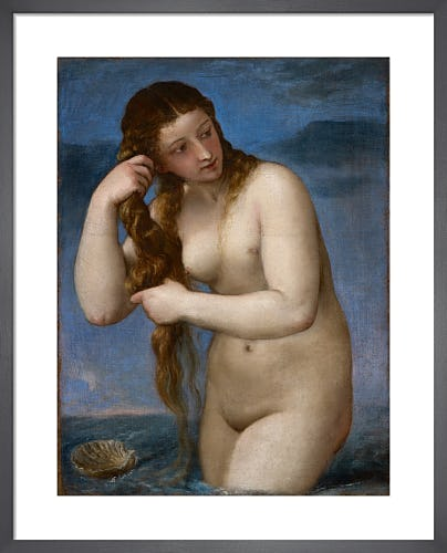Venus Rising from the Sea ('Venus Anadyomene') by Titian