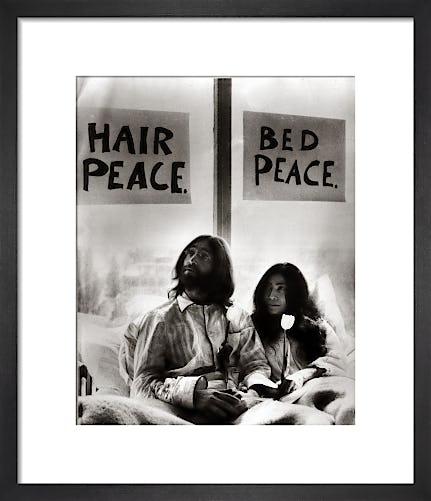 John Lennon in bed with Yoko Ono by Mirrorpix